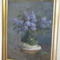 Tablou, Natura moarta, Impresionism - VAS CU FLORI SEMNAT NICOLAE ANGELESCU ANGE 1869-1916 AUTENTIC