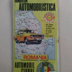 Harta automobilistica - Editata de Automobil Clubul Roman, anii '70 - Harta Turistica