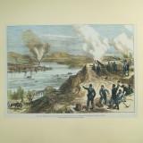 Gravura color Aruncarea in aer a barcii turcesti de razboi a lui Lufti Djelil vazuta de la bateria ruseasca din Braila 1877 - 1878 - Pictor roman