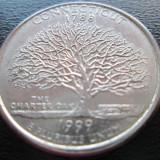 "(72) SUA USA QUARTER DOLLAR 1999 CONNECTICUT MONETARIA PHILADELPHIA LITERA ""P"""