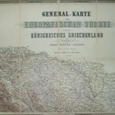 Harta generala a Turciei europene si a regatului Greciei J. Scheda 1869 - Harta Turciei