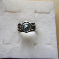 Inel argint, 57 - 67 - INEL CU PIATRA ALBASTRA CULOARE AQUA MARINE DIN ARGINT 9, 15 gr