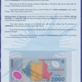 Bancnota 2000 lei 1999 UNC in Pliant BNR cu Plicul Aferent