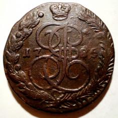 C.443 RUSIA ECATERINA II 5 KOPEICI COPEICI 1785 EM 40-41mm - Moneda Medievala, Europa