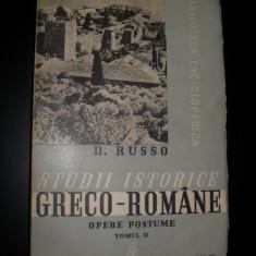 Istorie - D. Russo, Studii istorice greco - romane, 1939, vol 2, ingrijita de C. C. Giurescu