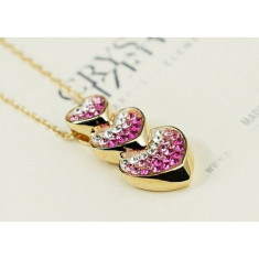 Colier placate cu aur - Colier Crystal Hearts Pink