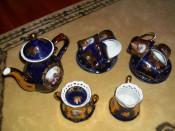 Serviciu ceai-cafea din portelan si cobalt aurit IMPERIAL foto