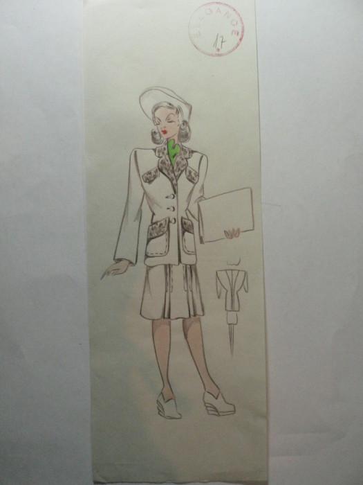 45 - MODA FEMININA VINTAGE ANII 1930 - 40. CROCHIU EXECUTAT MANUAL CREIOANE COLORATE - DIMENSIUNI 30 X 11CM foto mare