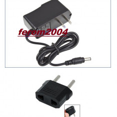 Transformator incarcator+adaptor priza 12 V 1A - format din cablu de incarcare cu mufa DC MALE - UTP - TATA - pentru camere de supraveghere, benzi led