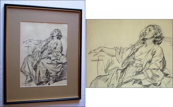 Jean Baptiste Greuze (1725 -1805) - Tanara femeie sezand, maniere au crayon foto mare