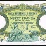 Bancnota Straine, Europa - Albania 20 franga 1939, 19 cm x 11cm, 100 roni, circulata, taxele postale zero, fotografia e de prezentare, detalii pe mesageria privata inainte de a licita