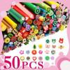 Batoane fimo pentru unghii, diverse modele, set de 50 batonase Nail Art 3D, plus cutter cadou