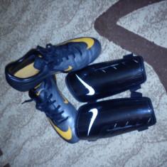 Adidasi nike mercurial + aparatori tibie nike - Ghete fotbal Nike, Marime: 37.5, Negru, Copii