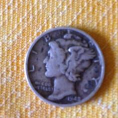 Monede Straine, America de Nord - 1 Dime Moneda Dolar SUA 1942