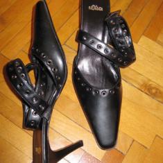 Pantofi cu toc negri, legati pe glezna, fara calcai marca S.Oliver - Mocasini dama Gabor, Marime: 40, Culoare: Negru