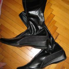 Cizme piele sintetica ELASTICa, cizme subtiri de primavara masura 40-41 - Cizme dama, Culoare: Negru