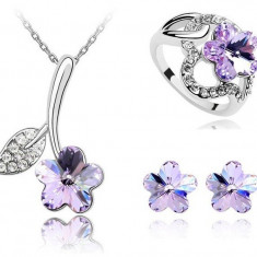 Set Purple Flower Swarovski Elements 114106 - Set Swarovski