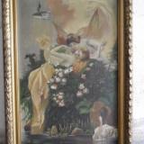 Nimfe - scena romantica, tablou vechi, pictura pe panza - Pictor roman, Nud, Ulei, Impresionism