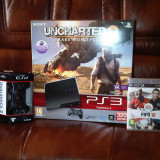 VAND PLAYSTATION 3 Slim 320 GB + 2 controlere + 6 jocuri: Battlefield 3, MW3, LA Noire, Max Payne 3, FIFA 2012, Call of Duty 4