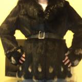 Haina blana naturala moderna marime M - Palton dama