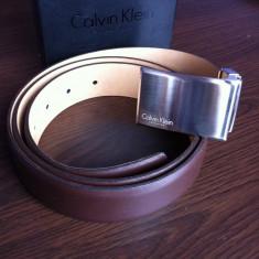 Curea cK CALVIN KLEIN 2013, 100% PIELE, 100% ORIGINAL - Curea Barbati Calvin Klein, 105cm, Maro, curea si catarama