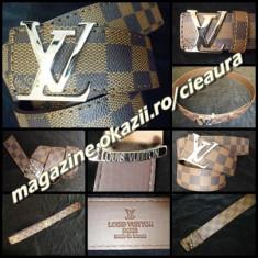 Curea Barbati Louis Vuitton, curea si catarama - CUREA BARBATEASCA FIRMA LOUIS VUITTON PIELE ECOLOGICA CANVAS IMPRIMEU SAH MARO