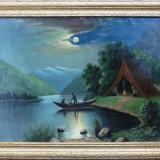 Tablou - Noaptea pe lac, Pictura semnata ilizibil
