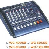 Mixere DJ - MIXER AUDIO AMPLIFICAT/PUTERE, 6 CANALE, EFECTE DIGITALE VOCE, MP3 PLAYER INCLUS, 300 WATT.