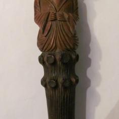Metal/Fonta - CY - Ornament vechi oriental din lemn si metal / interesant