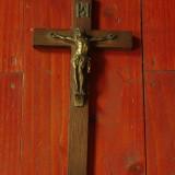 Cruce / Crucifix din lemn si metal - ISUS PE CRUCE !!!
