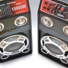 2 boxe amplificate/active, BASS 12 INCH, MIXER INCLUS, EFECTE VOCE, ORGA LUMINI, MP3 PLAYER+MICROFOANE BONUS! 320 WATT.