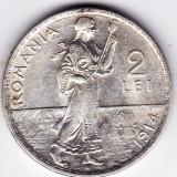 5) 2 LEI 1914, argint, muchia rotunjita, monetaria Hamburg - Moneda Romania