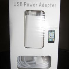 Incarcator iPhone 5 Pachet 2 IN 1 CABLU DE DATE + Adaptor Priza - Incarcator telefon iPhone, iPhone 5/5S, De priza si masina