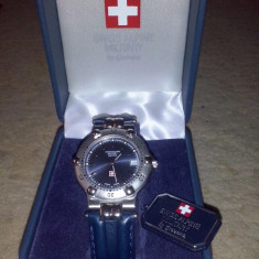 Vand ceas original Swiss ALpine Military by Grovana - Ceas barbatesc Swiss Military, Casual, Mecanic-Manual, Piele, Rezistent la apa, Analog