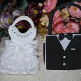 "Marturii nunta, Saculet din material textil ""Mire"" sau ""Mireasa""marturie sac - Marturii botez"