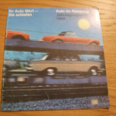AUTO IM REISEZUG * Jahresprogramm 1969 * Ihr Auto Fahrt - Sie Schlafen -- pliant, 23 p. ; text in lb. germana