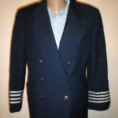 Sacou military -navy - JeansPhilosophy by Alberta Ferretti 100% original - Sacou dama Alberta Ferretti, Marime: M/L, Bleumarin, Lana