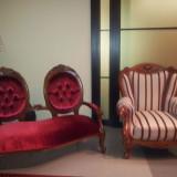 Mobilier Rococo Baroc canapea fotolii matase catifea tapiterie sufragerie living