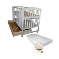 Patut Angel Alb cu sertar si Saltea Gryko cocos - Patut lemn pentru bebelusi Baby Dreams, 120x60cm