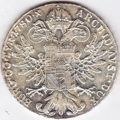 Monede Straine - 5) Austria Taler Thaler Maria Tereza Theresa S.F.=rebatere postuma dupa 1780 argint 28 grame, 40 mm, a.UNC/UNC
