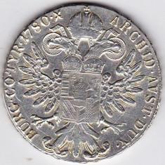 Monede Straine - 8) Austria Taler Thaler Maria Tereza Theresa S.F.=rebatere postuma dupa 1780 argint 28 grame, 40 mm, a.UNC/UNC