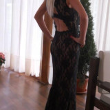 Rochie de seara dantela neagra ., Maxi, Fara maneca