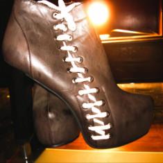 Botine dama, Marime: 41, Maro - Botine / Platforme Nelly Shoes din piele naturala culoarea maro marimea 41