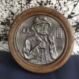 Metal/Fonta, Altul - Frumos tablou din zinc cu scena in relief !!!