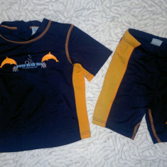 Set costume protectie solara 50 copii 1-4 ani, Culoare: Aqua