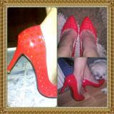 Pantofi stiletto cu tinte - Pantofi dama, Marime: 38, Culoare: Rosu