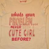 Tricou pentru fete, marimea 7-9 ani, marca Cherokee, cu mesaj