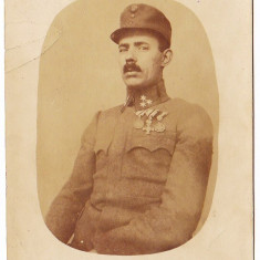 Fotografie veche - Fotografie tip carte postala ap. 1915 Austria Ungaria ofiter cu decoratii WW.I.