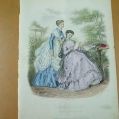 Revista moda - Moda costum rochie evantai gravura color La mode illustree Paris 1868