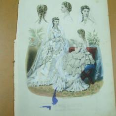 Revista moda - Moda costum rochie mireasa evantai voal gravura color La mode illustree Paris 1869